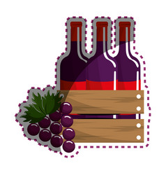 Sticker bottles wine and grape icon vector