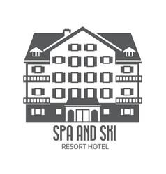 winter ski and spa resort hotel logo vector image vector image