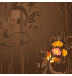abstract grunge background with flowers vector image