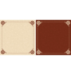 beige and brown cards with floral ornament vector image