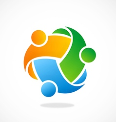 circle three abstract people diversity logo vector image