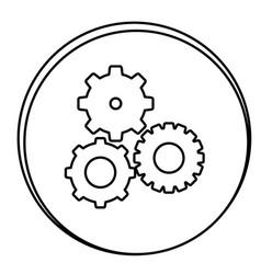 figure gears emblem icon vector image