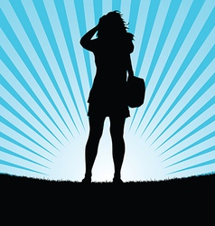 girl silhouette looking in nature in colorful vector image