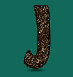 letter j with golden floral decor vector image