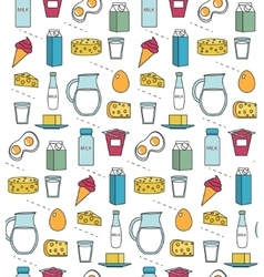 Dairy product seamless pattern Modern line vector image