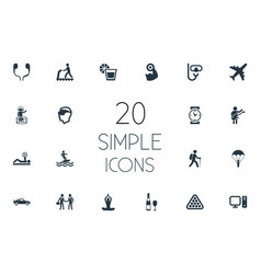 set of simple yoga icons vector image