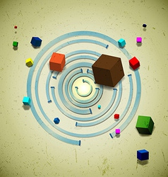 Abstract flying cubes vector image