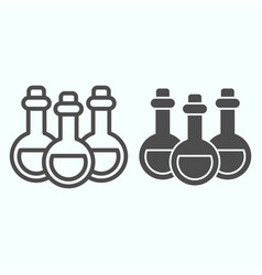 Alchemy potion cans line and solid icon three vector