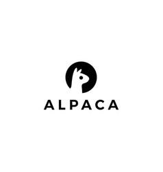 alpaca llama logo icon negative space style vector image