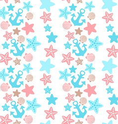anchor seashell and starfish seamless pattern vector image