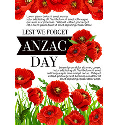 anzac day australian lest we forget poster vector image