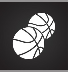 baketball icon on black background for graphic and vector image
