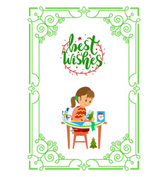 best wishes christmas holidays girl sits at table vector image