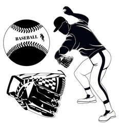 black baseball pitcher glove and ball vector image