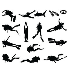 black silhouette diver vector image