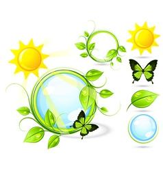 Butterflies and sun vector