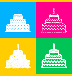 cake with candle sign four styles of icon on four vector image