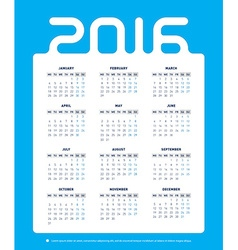 Calendar Template for 2016 on White Background vector image