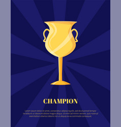 champion golden trophy cup shiny gold award vector image