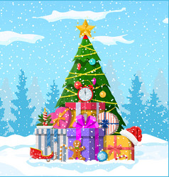 christmas background with forest vector image