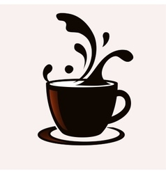 coffee cup with splash vector image