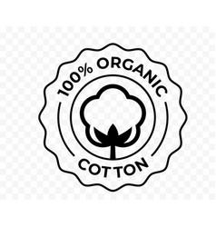 Cotton 100 organic bio and eco certificate icon vector