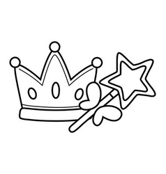 Crown and wand black and white vector