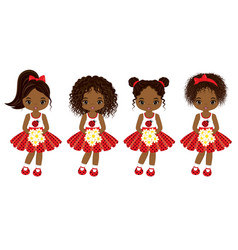 Cute little african american girls vector