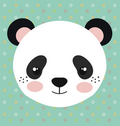 cute panda bear head tender character vector image