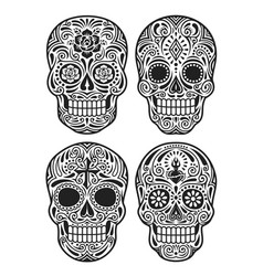 Day of the dead skull set vector