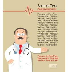 Design template with funny doctor vector image