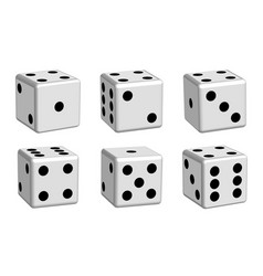 Dice white set in 3d view vector