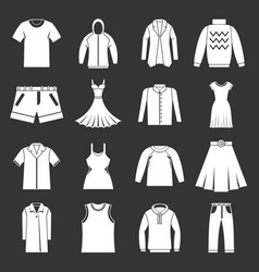 Different clothes icons set grey vector