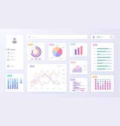 Digital dashboard admin panel with graph chart vector