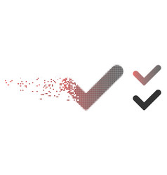 Disintegrating pixel halftone yes icon vector