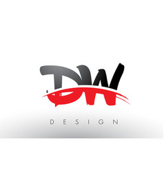 Dw d w brush logo letters with red and black vector