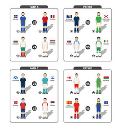 european soccer tournament play off draws 2020 vector image