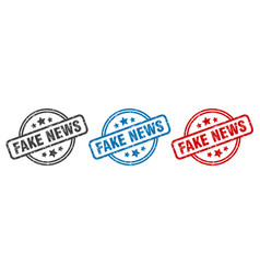 Fake news stamp fake news round isolated sign vector