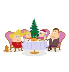 Family celebrating Christmas isolated vector image