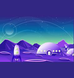fantasy space landscape planet cartoon flat design vector image