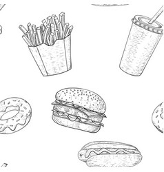 fast food seamless pattern hand drawn sketch vector image