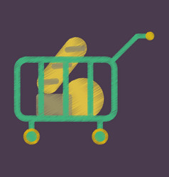 Flat icon in shading style shop cart with food vector