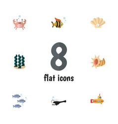 Flat icon marine set of seafood seashell fish vector
