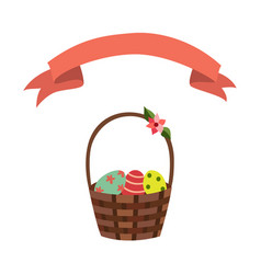 flat wicker basket flowers easter ribbon vector image