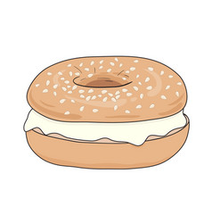 Fresh bagel sandwich with cream cheese vector