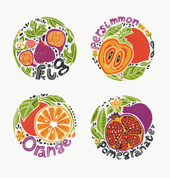Fruits in round set 1 vector