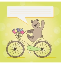 Funny little brown bear on bicycle vector