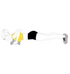 Girl is doing sports exercises bench press vector
