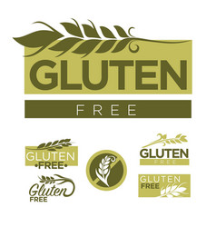 Gluten free production emblems set with wheat vector