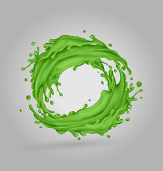 Green juice splashes circle on a gray background vector